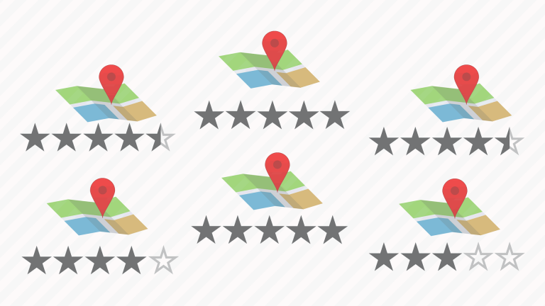 Map Pins on maps with star ratings below