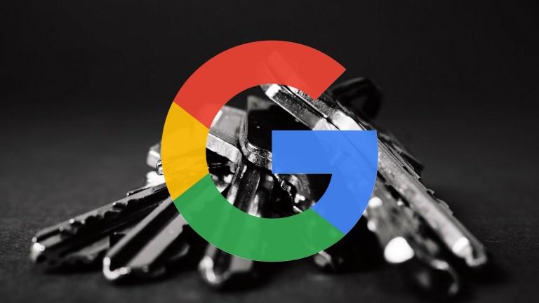 Google G logo and keys