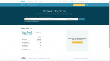 Moz Keyword Explorer homepage