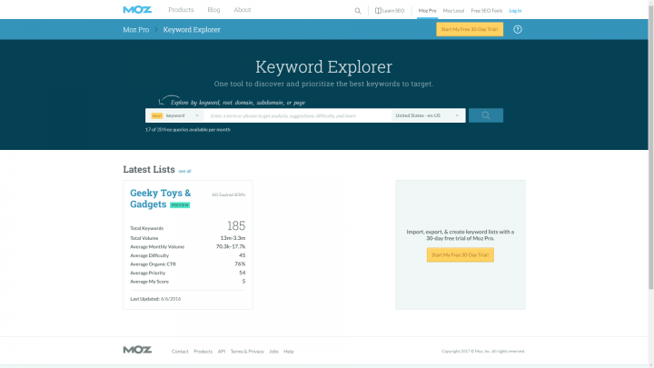 Moz Keyword Explorer homepage