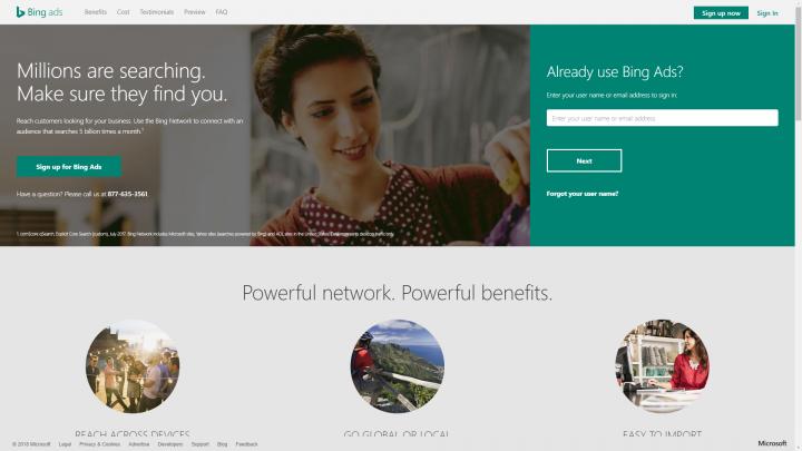 Bing Ads homepage