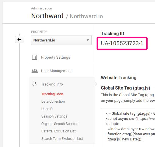 Google Analytics admin UA Code