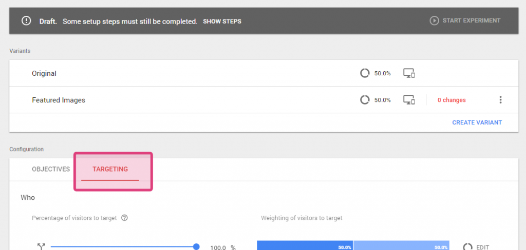 Google Optimize Targeting tab