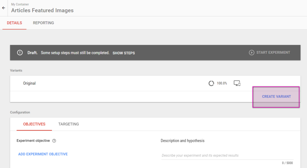 Google Optimize Create Variant button