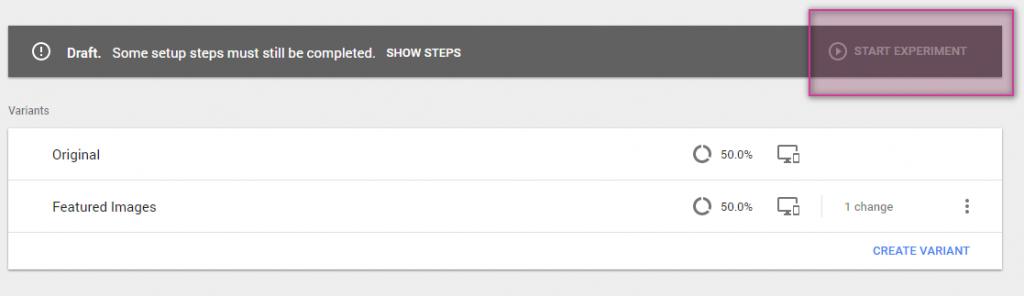 Google Optimize Start Experiment button