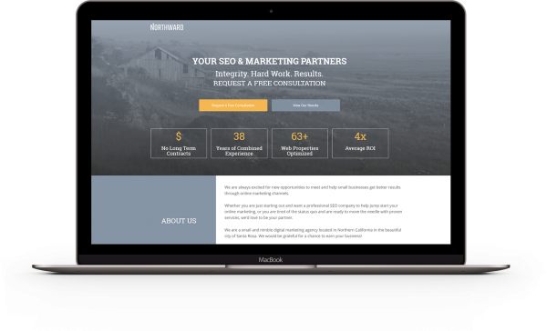 Mockup on laptop of Northward SEO landing page
